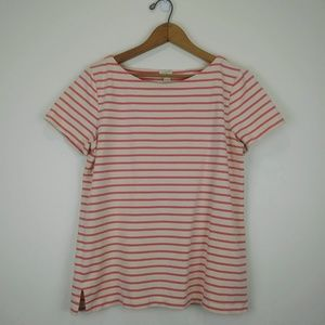 J. Crew Pink & Cream Striped Scoop Neck Tee,
